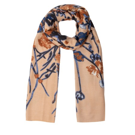 Gemini Label Accessories Josette Abstract Floral Scarf - Brown