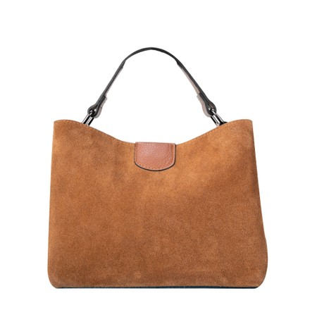 Gemini Label Accessories Lula Suede and Leather Handbag  - Brown
