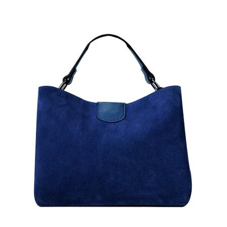 Gemini Label Accessories Lula Suede and Leather Handbag  - Blue