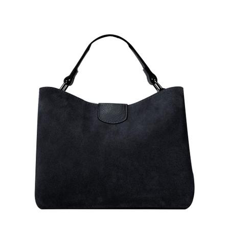 Gemini Label Accessories Lula Suede and Leather Handbag  - Black