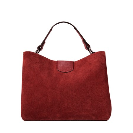 Gemini Label Accessories Lula Suede and Leather Handbag  - Red