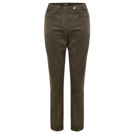 Robell Bella 78cm Needlecord Full Length Trouser - Brown
