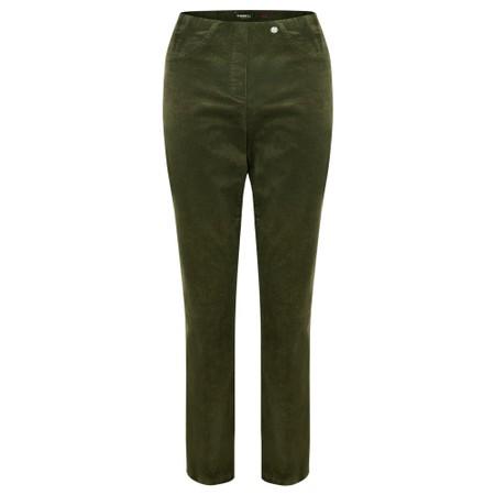 Robell Bella 78cm Needlecord Full Length Trouser - Green
