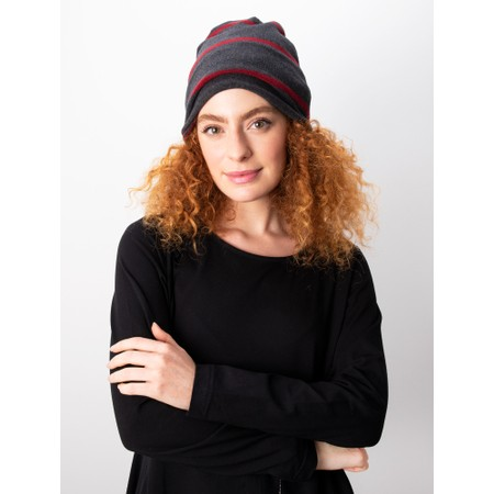 Mama B Kaki Wide Stripe Fleece Hat - Grey