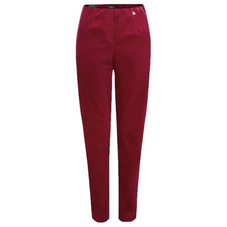 Robell Marie Stretch Cotton Velvet Slim Full Length Trouser - Red