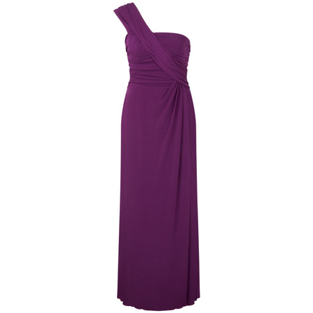 John Charles Jersey Crepe One Shoulder Evening Dress  - Purple