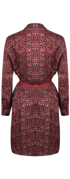 Sandwich Clothing Long Sleeve Small Square Print Dress Scarlet Red