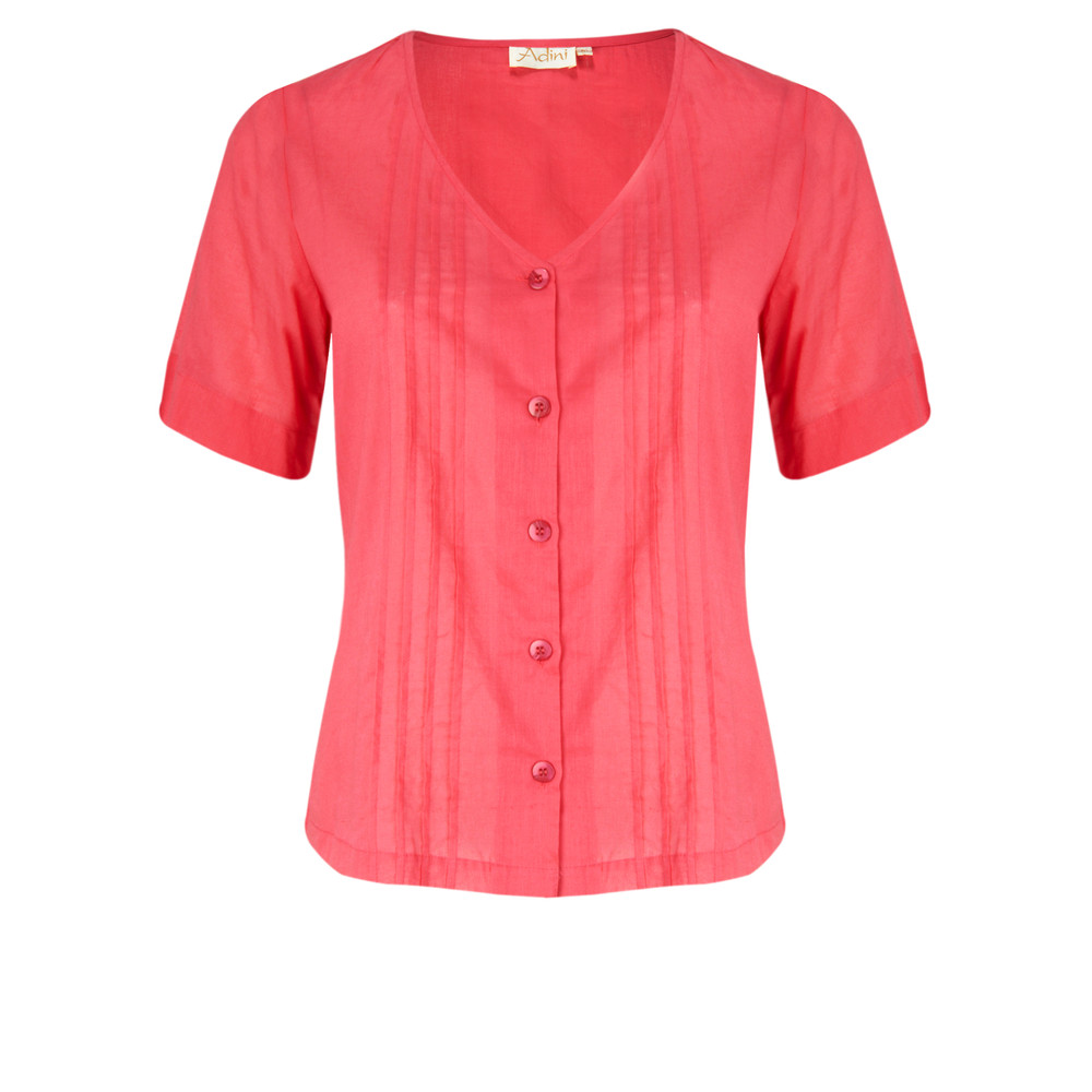 Adini Solid Cotton Voile Blouse F/Rose