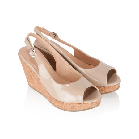 Vanilla Moon Shoes Marie Patent Wedge Sandal - Beige