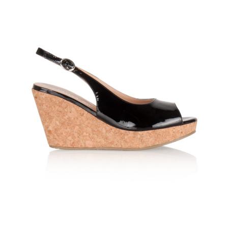 Vanilla Moon Shoes Marie Patent Wedge Sandal - Black