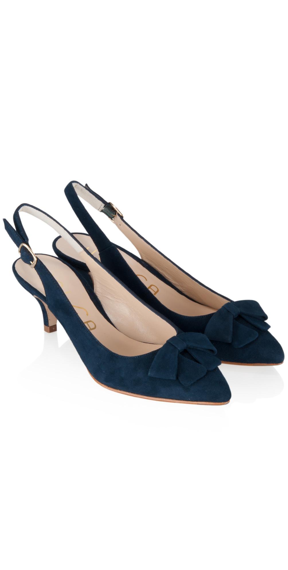Navy Peep Toe Kitten Heel Shoes