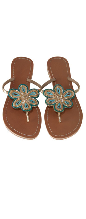 ASPIGA Flower Sandal With Diamante Detail Turquoise