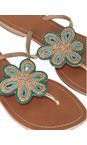 ASPIGA Turquoise Flower Sandal With Diamante Detail