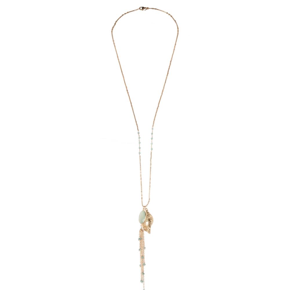 Ashiana Jewellery Aqua Chalcedony Necklace With Sea Shell And Flourite Gold