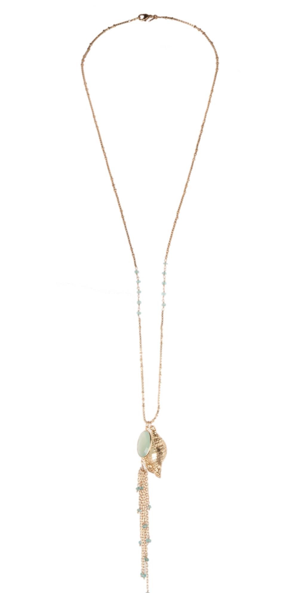 Aqua Chalcedony Necklace With Sea Shell And Flourite main image