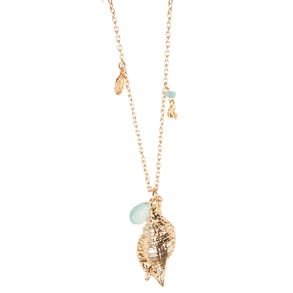 Ashiana Jewellery Sea Charm Necklace Wih Aqua Chalcedony Gold