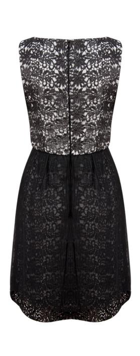 French Connection Glazed Lace Sleeveless Dress Black