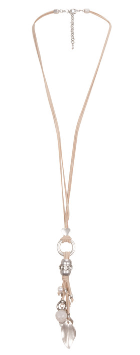 Ticktech Ltd. Leather Strand Detailed Necklace Beige