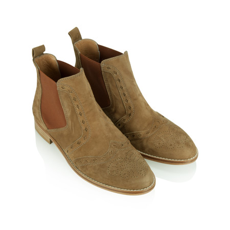HB Shoes Zara Classic Brogue Chelsea Boot - Beige