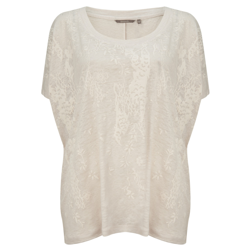 Sandwich Clothing Printed Jersey Top Chalk White