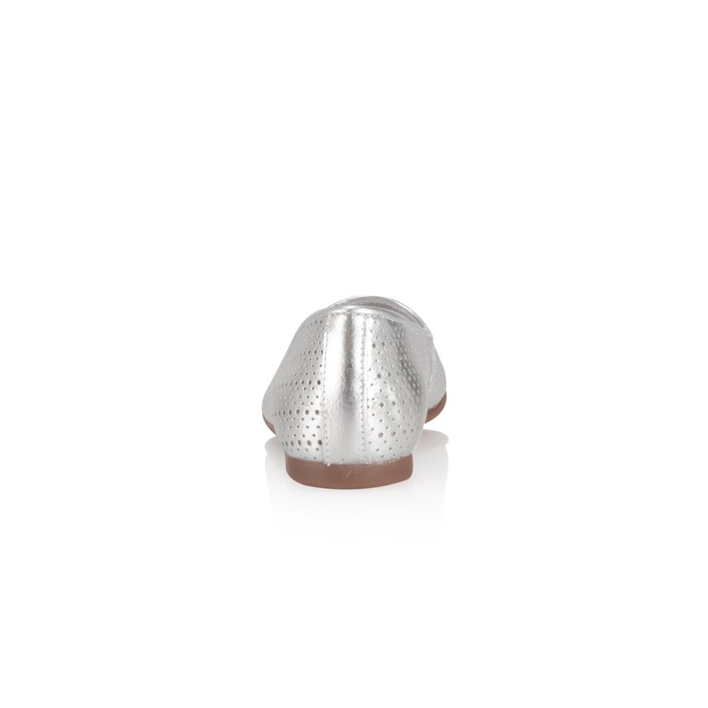 Noa Noa Metallic Saffron Slipper Shoe  Silver