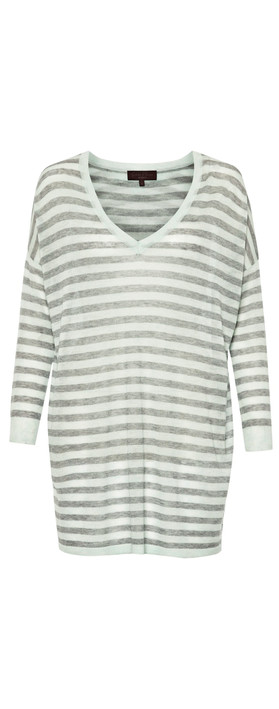 Great Plains  Marella Striped V-neck Top Marble