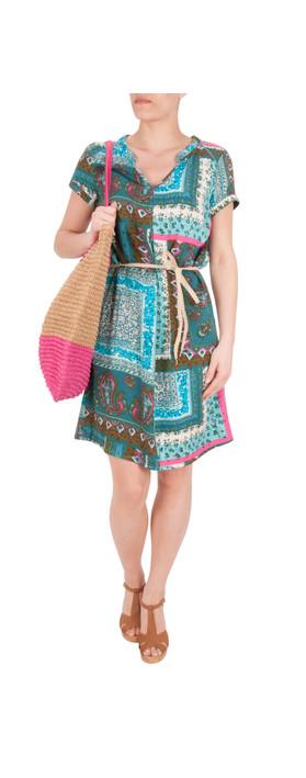 Sandwich Clothing Indian Flower Print Dress Dark Jade