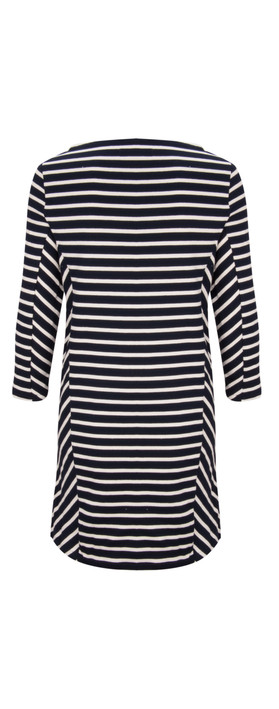 Petit Bateau Long Sleeved Striped Dress Navy