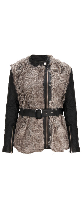 French Connection Alexia Furry Jacket Carbon